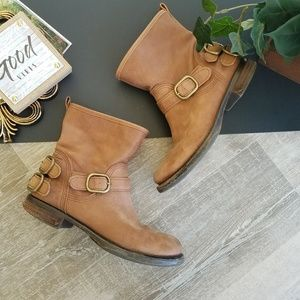 Lucky Brand Norton Leather Round Toe Moto Boots